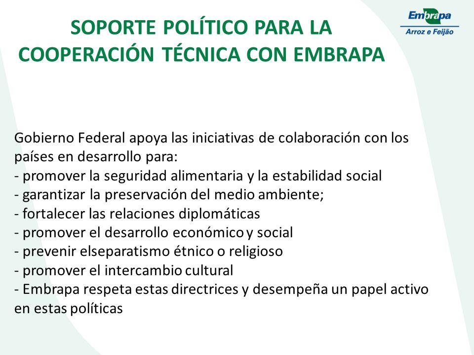 SOPORTE POLÍTICO PARA LA COOPERACIÓN TÉCNICA CON EMBRAPA