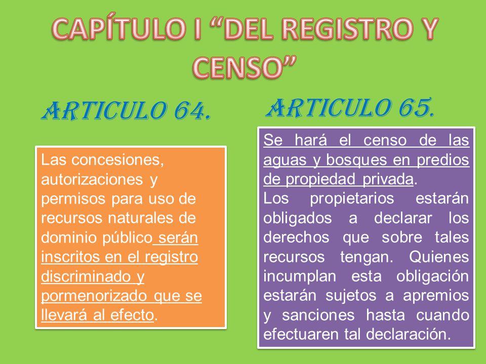 CAPÍTULO I DEL REGISTRO Y CENSO