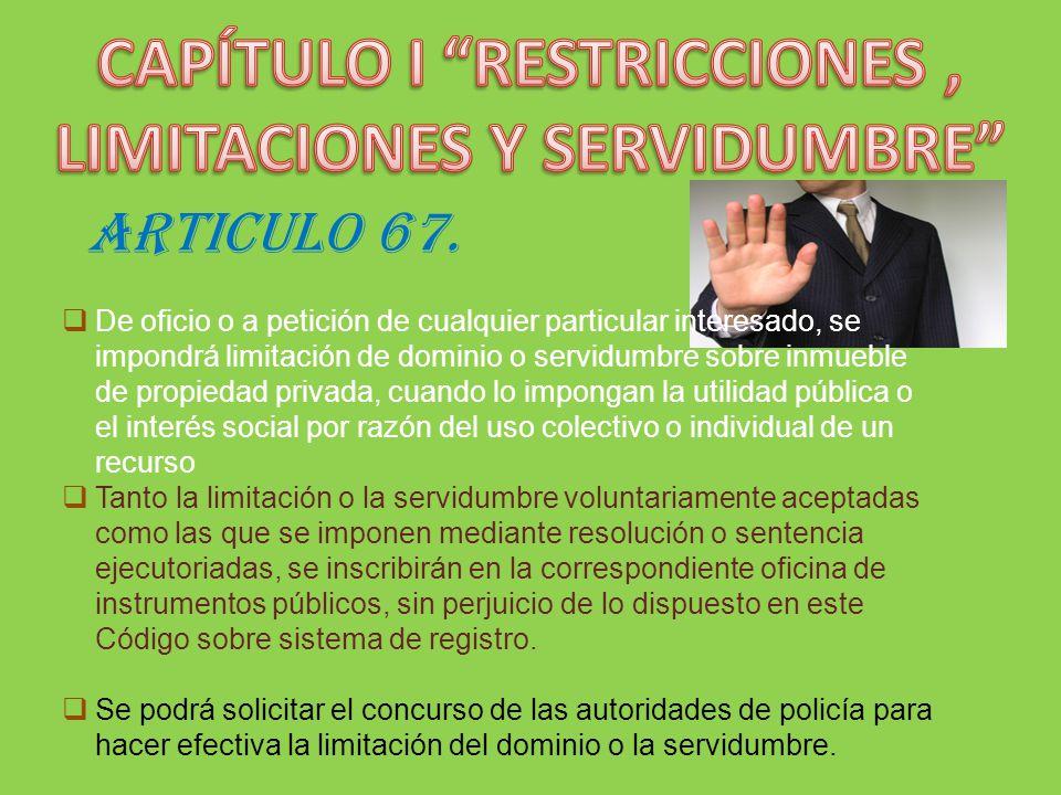 CAPÍTULO I RESTRICCIONES , LIMITACIONES Y SERVIDUMBRE