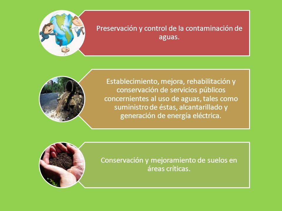 Preservación y control de la contaminación de aguas.