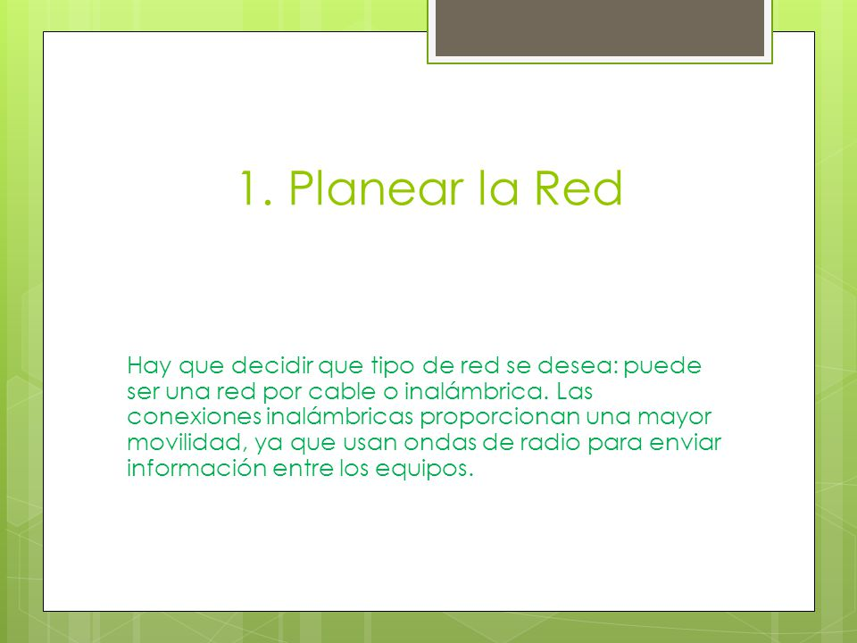 1. Planear la Red