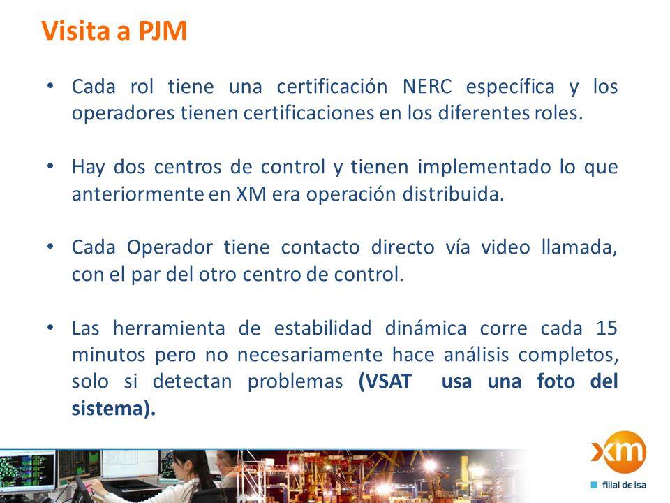 Visita a PJM Cada rol tiene una certificación NERC específica y los operadores tienen certificaciones en los diferentes roles.
