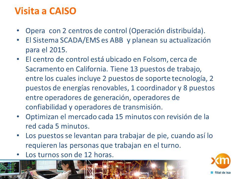 Visita a CAISO Opera con 2 centros de control (Operación distribuída).