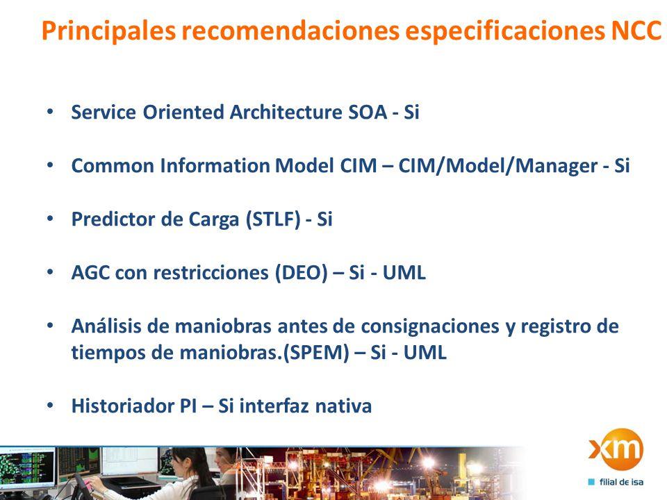 Principales recomendaciones especificaciones NCC