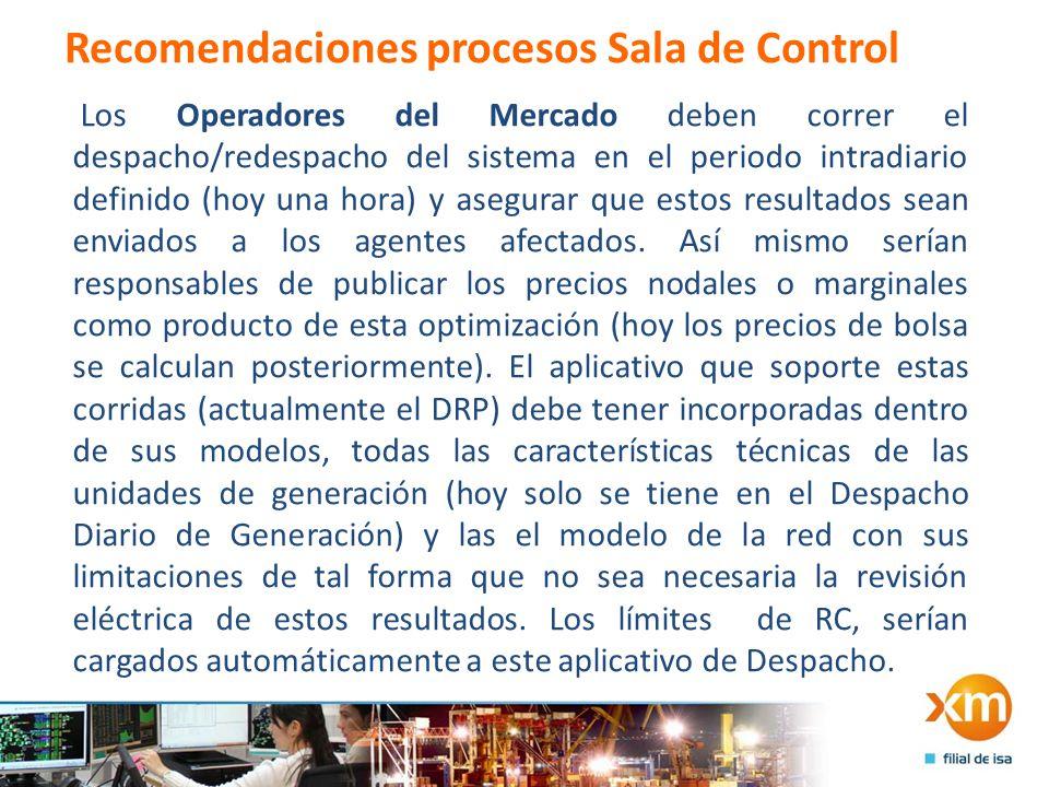 Recomendaciones procesos Sala de Control