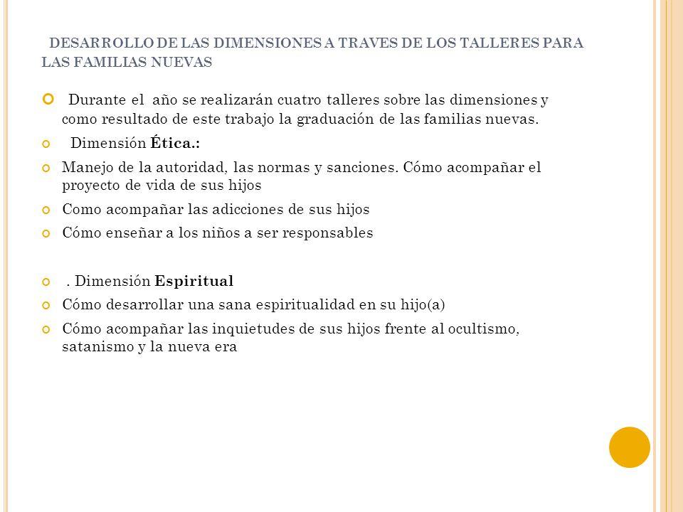 DESARROLLO DE LAS DIMENSIONES A TRAVES DE LOS TALLERES PARA LAS FAMILIAS NUEVAS