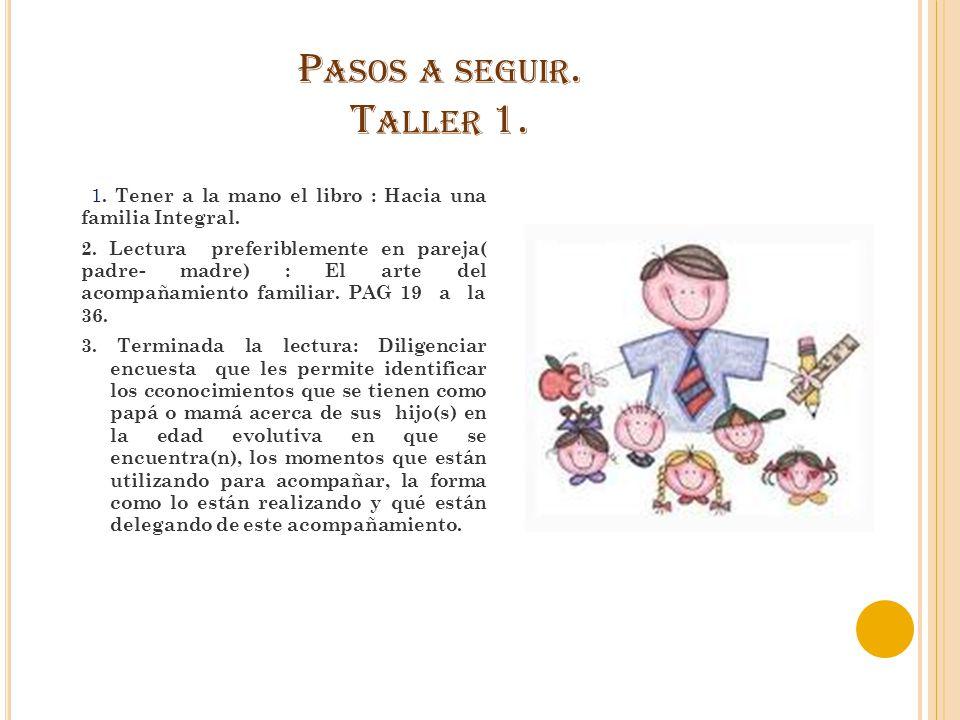 Pasos a seguir. Taller 1. 1. Tener a la mano el libro : Hacia una familia Integral.