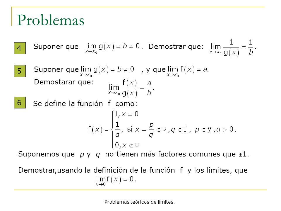 Problemas teóricos de límites.