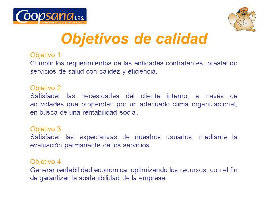 Objetivos de calidad Objetivo 1