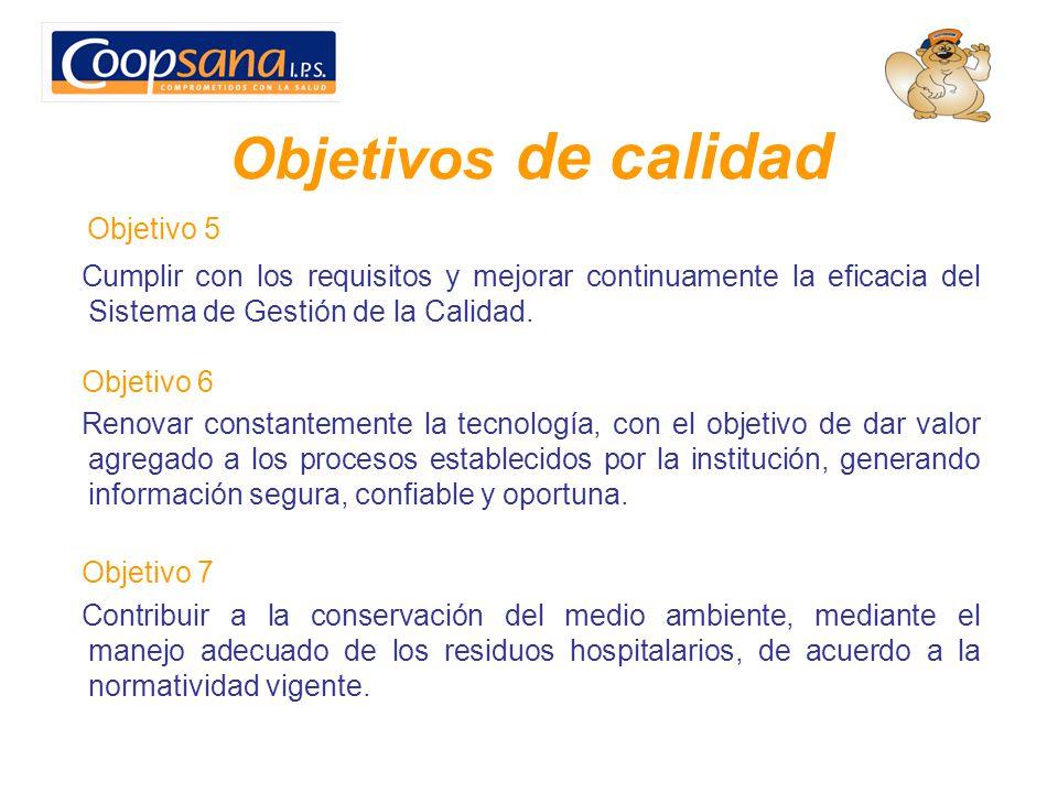 Objetivos de calidad Objetivo 5