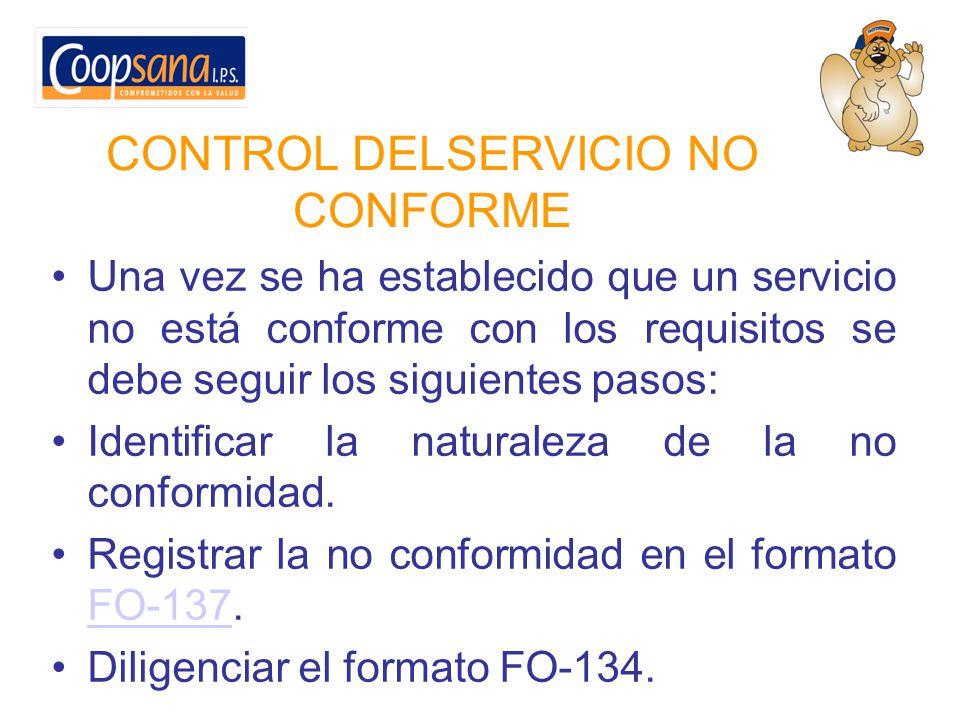 CONTROL DELSERVICIO NO CONFORME