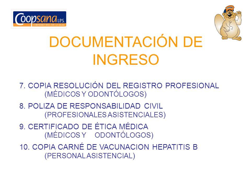DOCUMENTACIÓN DE INGRESO