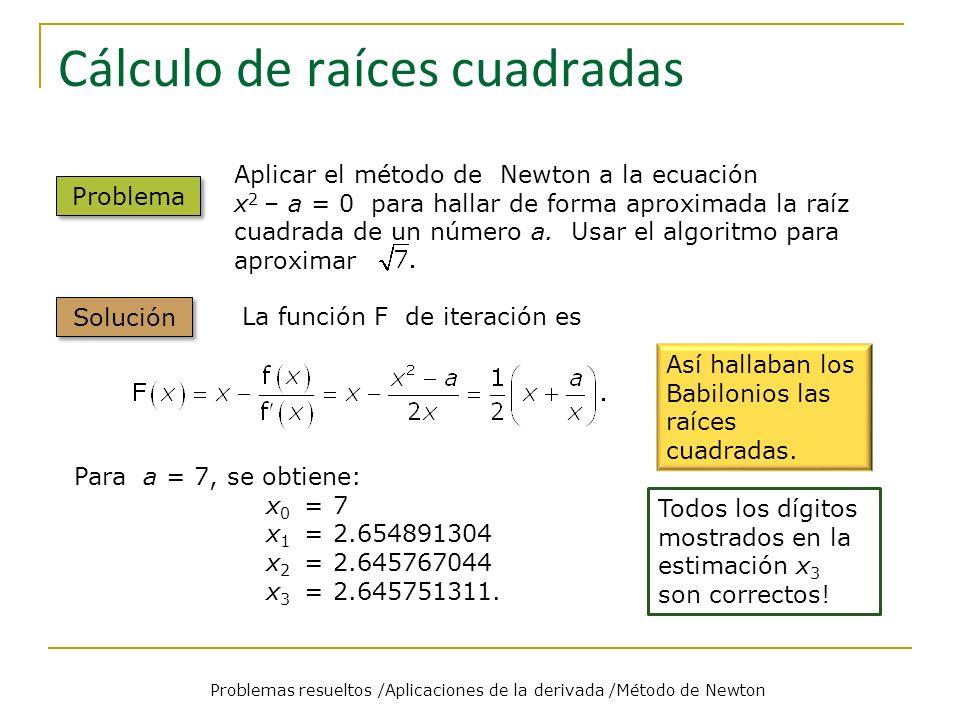 Cálculo de raíces cuadradas