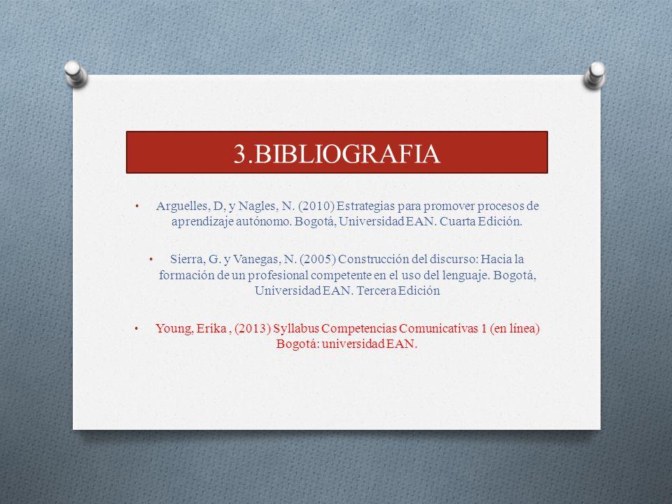 3.BIBLIOGRAFIA Arguelles, D, y Nagles, N. (2010) Estrategias para promover procesos de aprendizaje autónomo. Bogotá, Universidad EAN. Cuarta Edición.