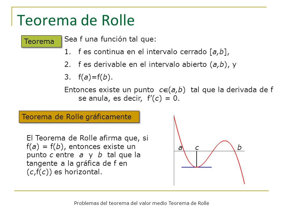 Problemas del teorema del valor medio Teorema de Rolle