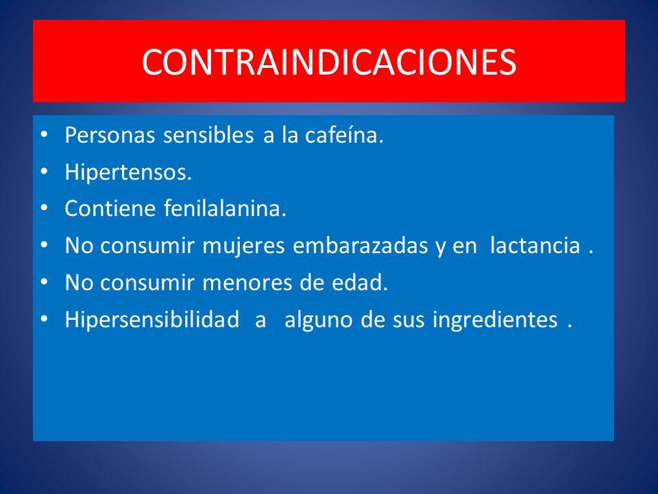 CONTRAINDICACIONES Personas sensibles a la cafeína. Hipertensos.