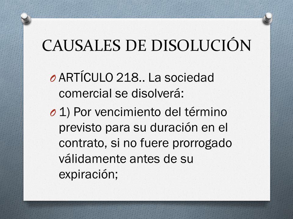 CAUSALES DE DISOLUCIÓN