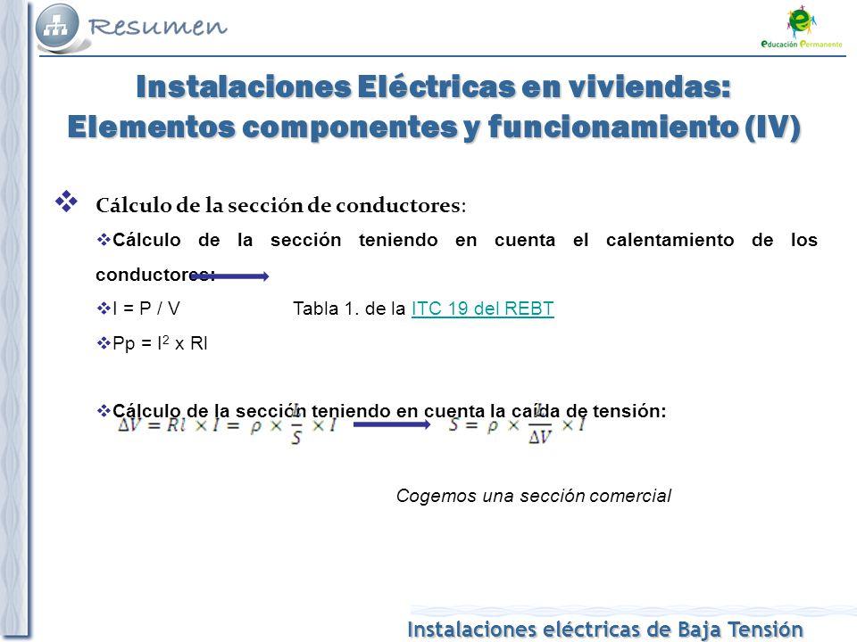 Instalaciones Eléctricas en viviendas: Elementos componentes y funcionamiento (IV)