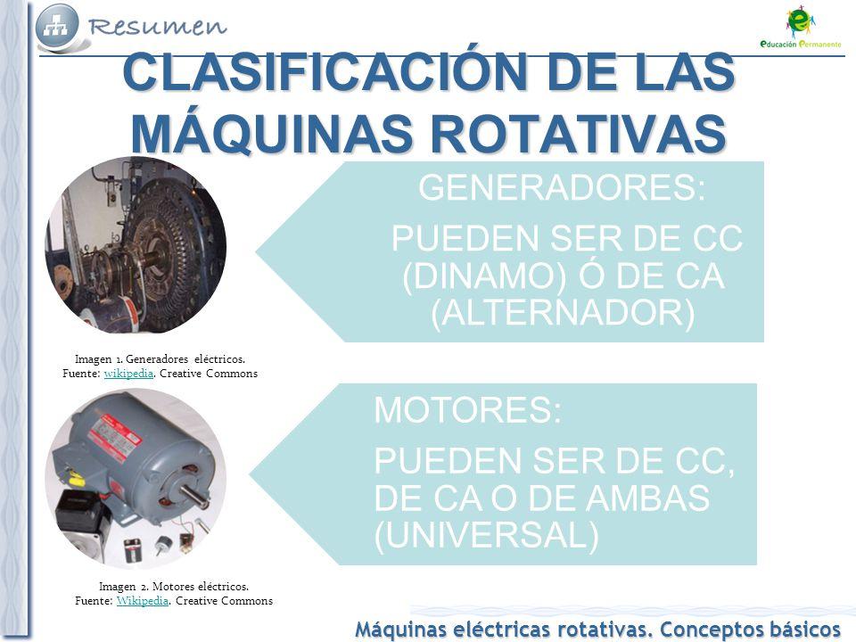 CLASIFICACIÓN DE LAS MÁQUINAS ROTATIVAS