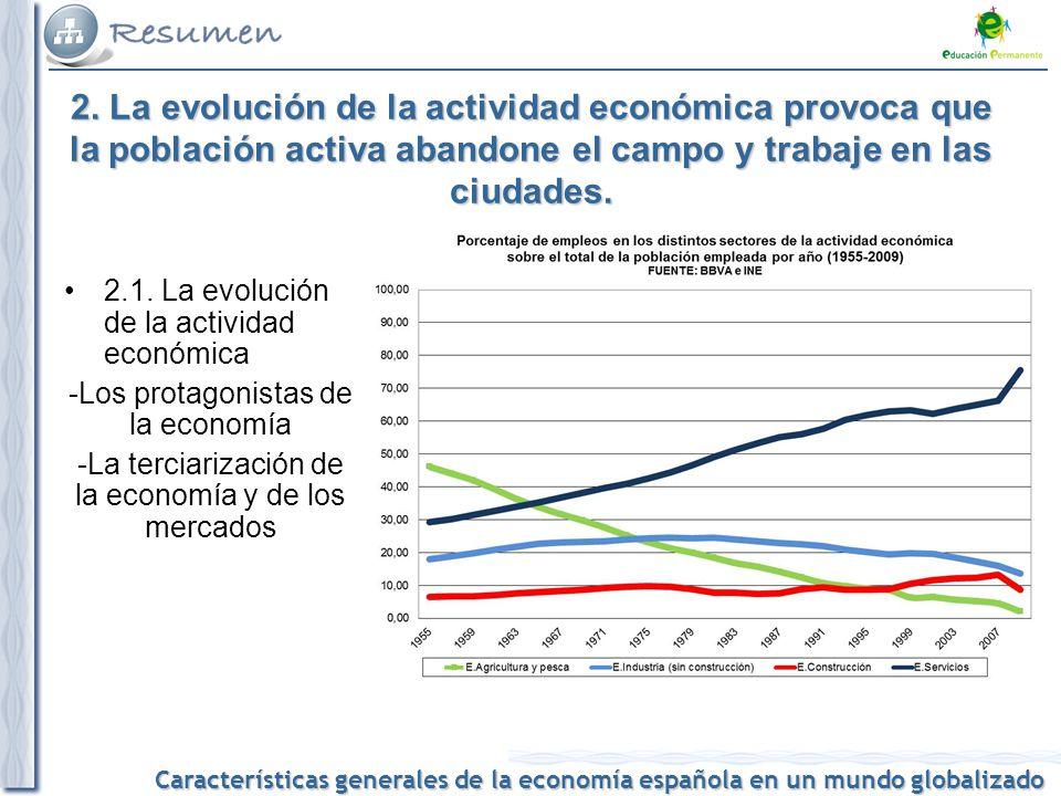 2. La evolución de la actividad económica provoca que la población activa abandone el campo y trabaje en las ciudades.