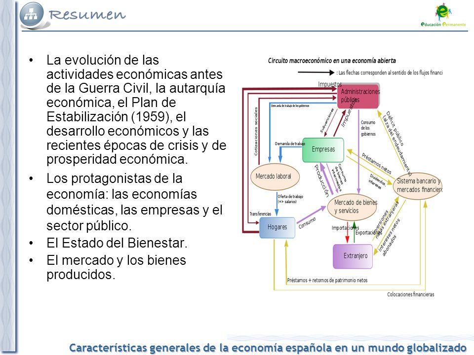 La evolución de las actividades económicas antes de la Guerra Civil, la autarquía económica, el Plan de Estabilización (1959), el desarrollo económicos y las recientes épocas de crisis y de prosperidad económica.
