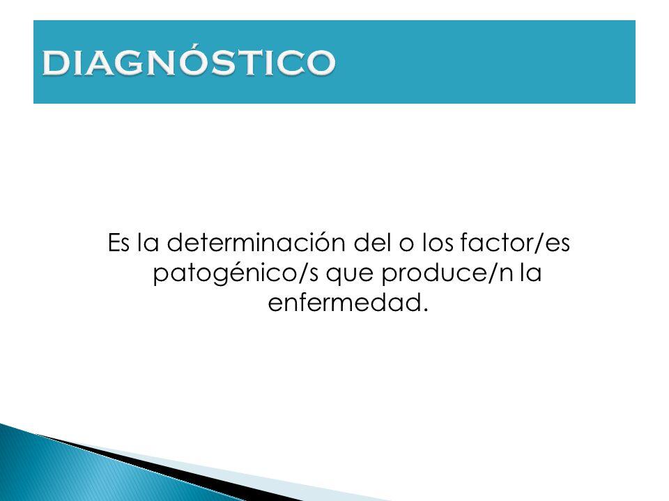 DIAGNÓSTICO Es la determinación del o los factor/es patogénico/s que produce/n la enfermedad. Que es lo que nos anuncia que hay un problema
