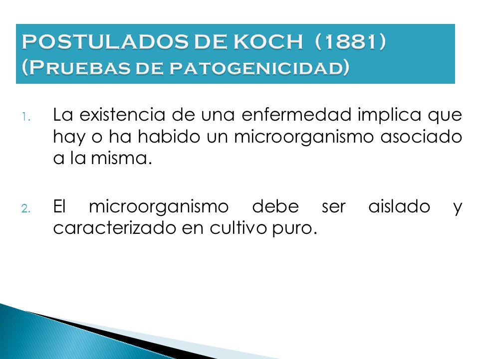 POSTULADOS DE KOCH (1881) (Pruebas de patogenicidad)