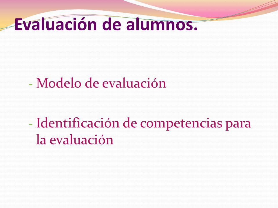 Evaluación de alumnos. Modelo de evaluación