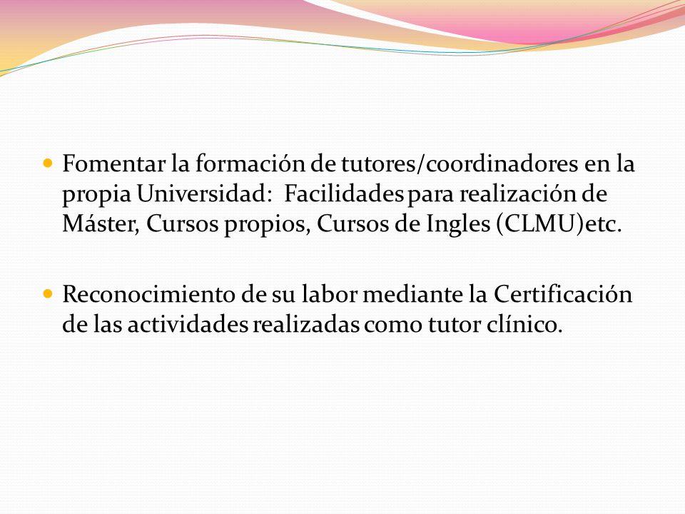 Fomentar la formación de tutores/coordinadores en la propia Universidad: Facilidades para realización de Máster, Cursos propios, Cursos de Ingles (CLMU)etc.