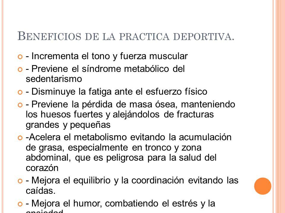 Beneficios de la practica deportiva.