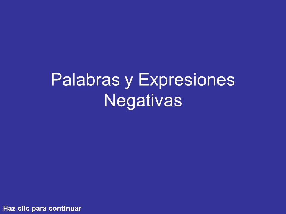 Palabras y Expresiones Negativas