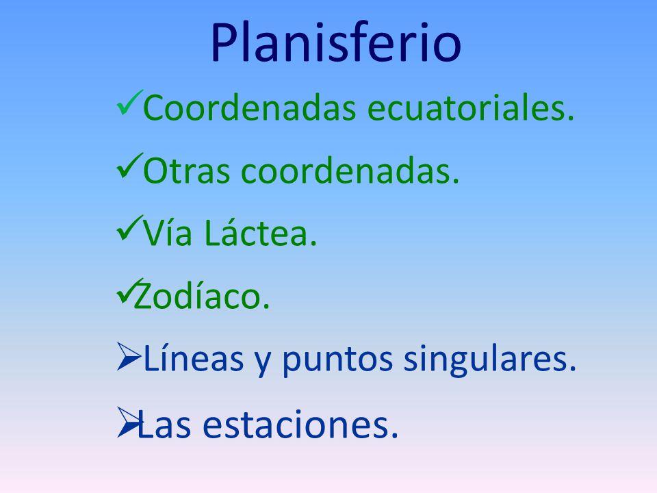 Planisferio Las estaciones. Coordenadas ecuatoriales.