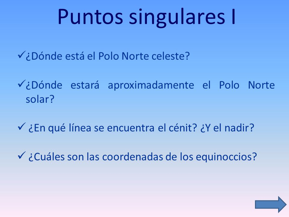 Puntos singulares I ¿Dónde está el Polo Norte celeste