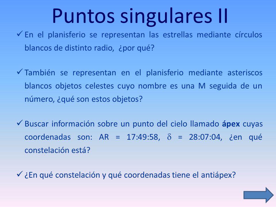 Puntos singulares II En el planisferio se representan las estrellas mediante círculos blancos de distinto radio, ¿por qué