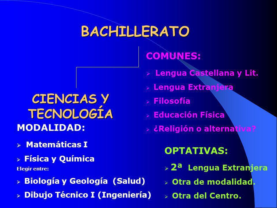 BACHILLERATO CIENCIAS Y TECNOLOGÍA COMUNES: Lengua Castellana y Lit.