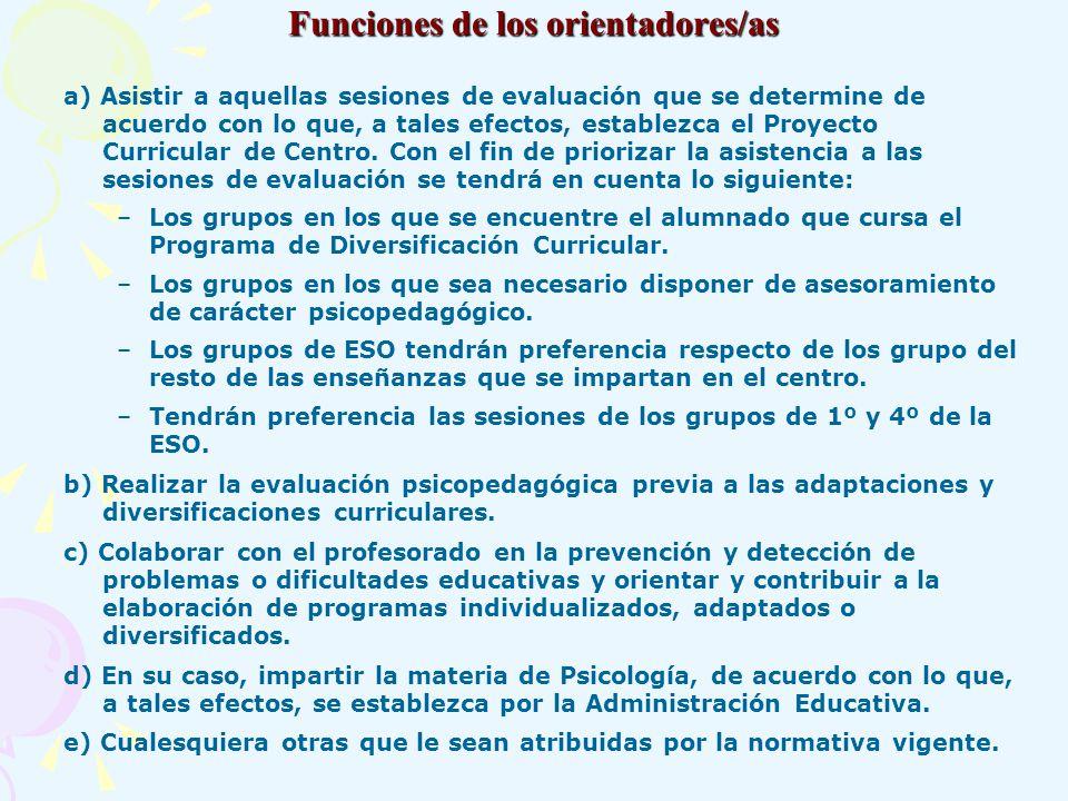 Funciones de los orientadores/as