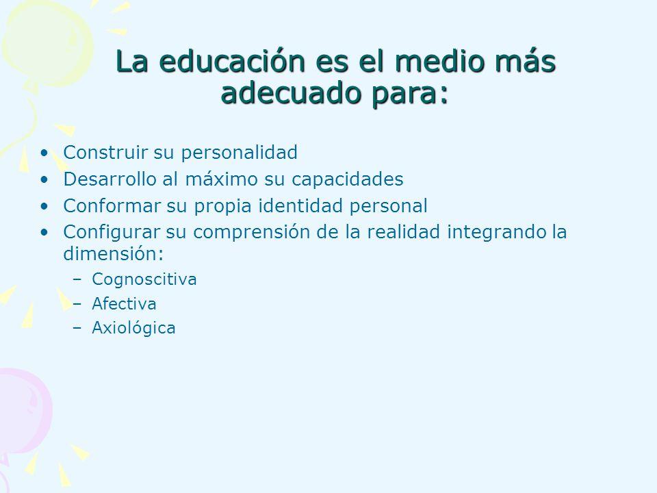 La educación es el medio más adecuado para: