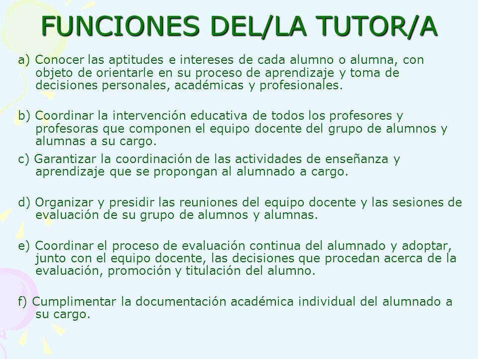 FUNCIONES DEL/LA TUTOR/A