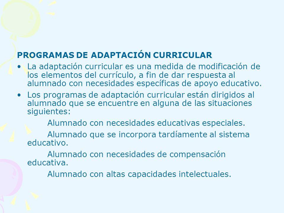 PROGRAMAS DE ADAPTACIÓN CURRICULAR