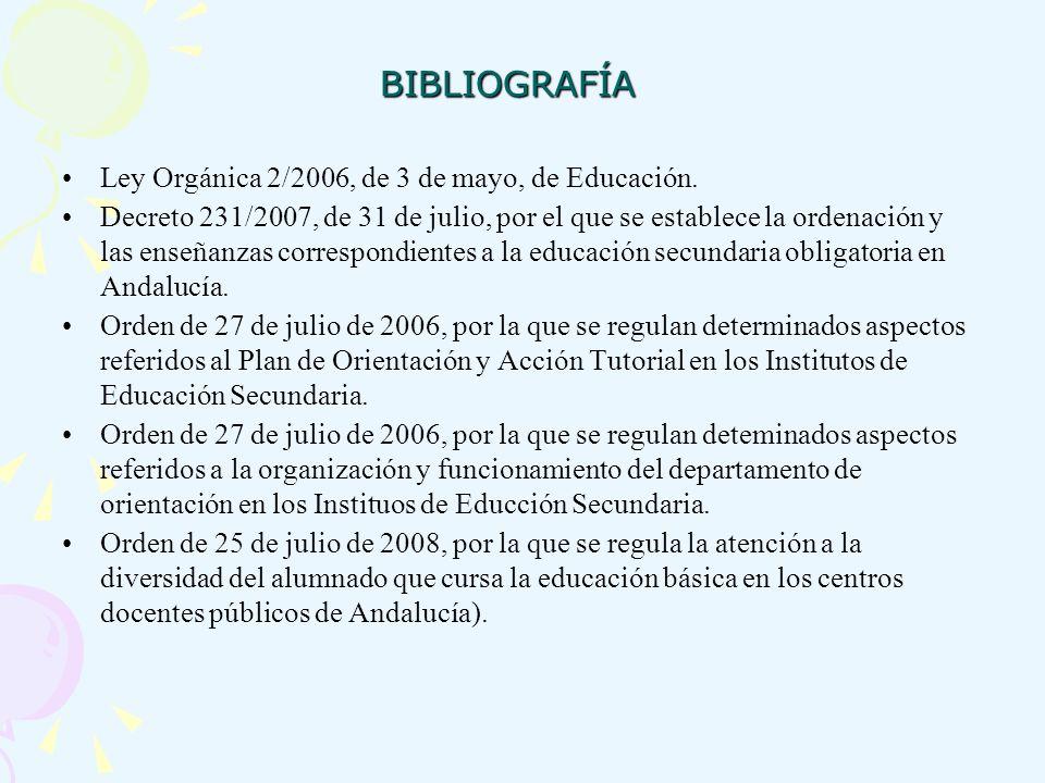 BIBLIOGRAFÍA Ley Orgánica 2/2006, de 3 de mayo, de Educación.