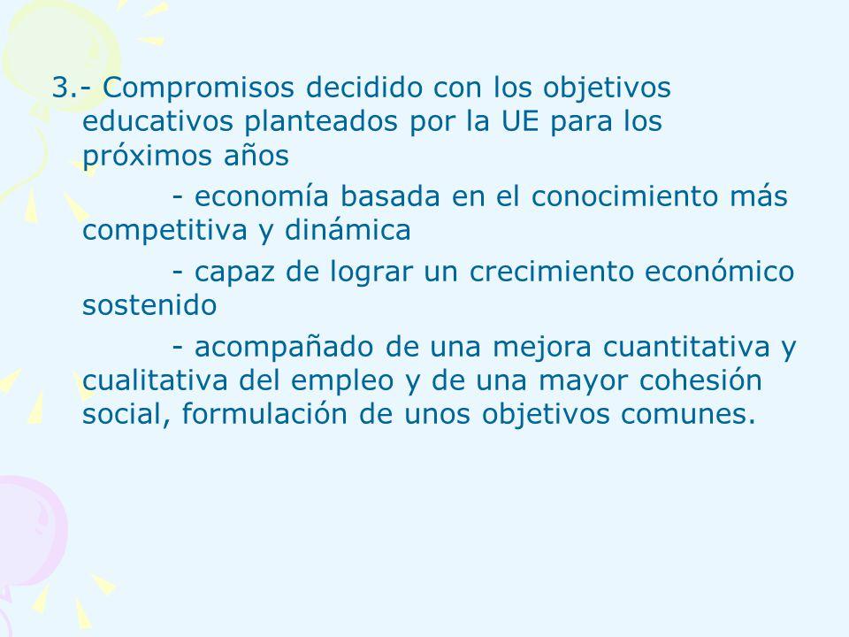 3.- Compromisos decidido con los objetivos educativos planteados por la UE para los próximos años