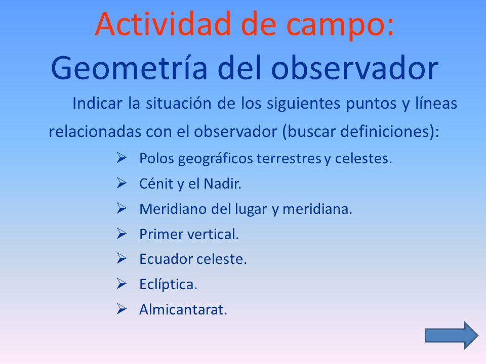 Actividad de campo: Geometría del observador
