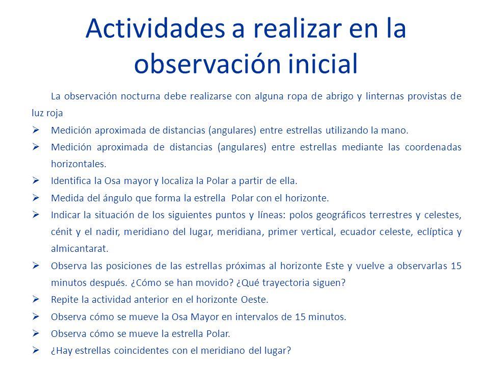 Actividades a realizar en la observación inicial