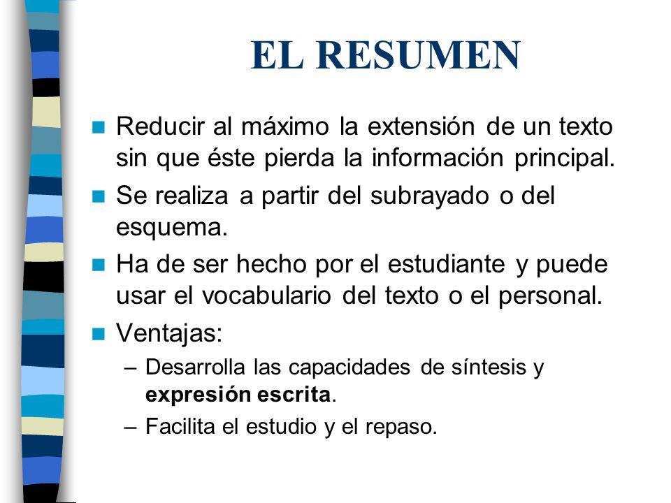 EL RESUMEN Reducir al máximo la extensión de un texto sin que éste pierda la información principal.