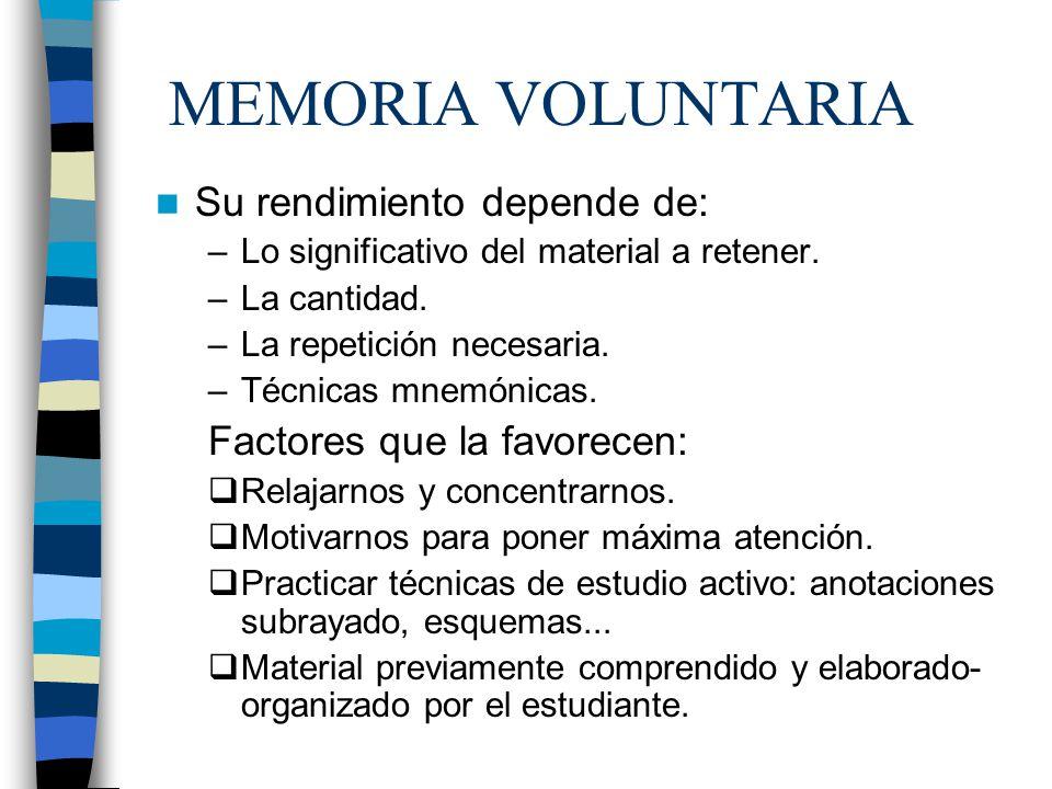 MEMORIA VOLUNTARIA Su rendimiento depende de: