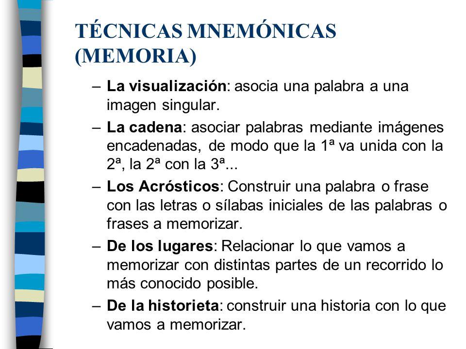 TÉCNICAS MNEMÓNICAS (MEMORIA)