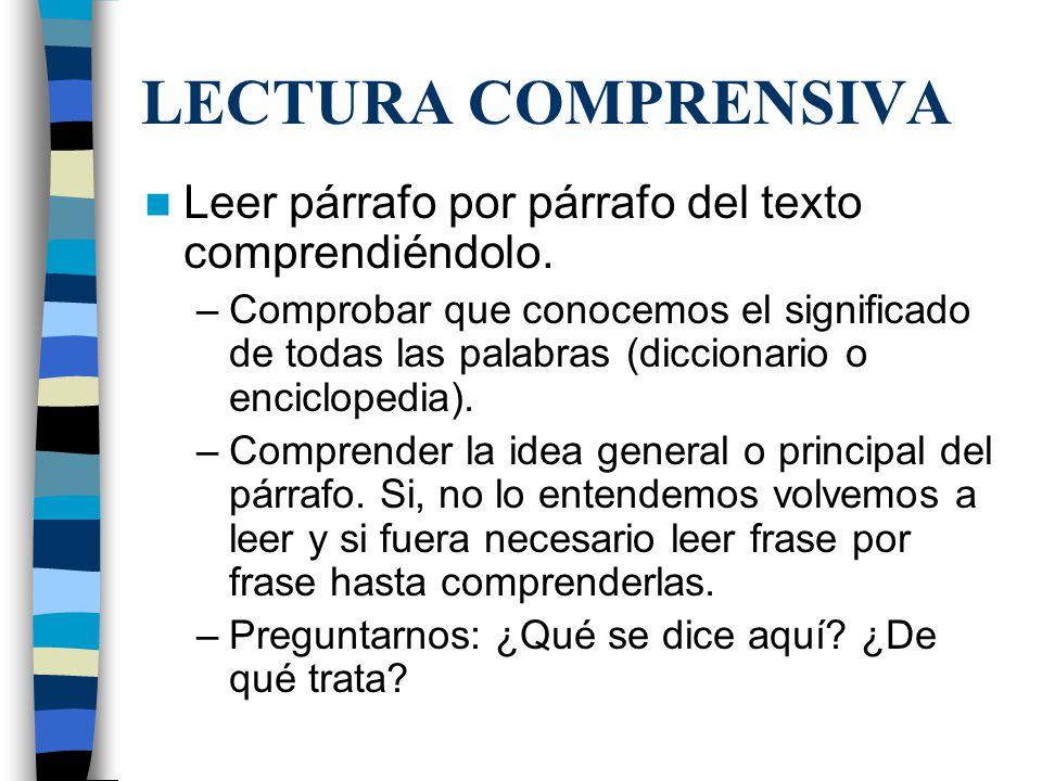 LECTURA COMPRENSIVA Leer párrafo por párrafo del texto comprendiéndolo.