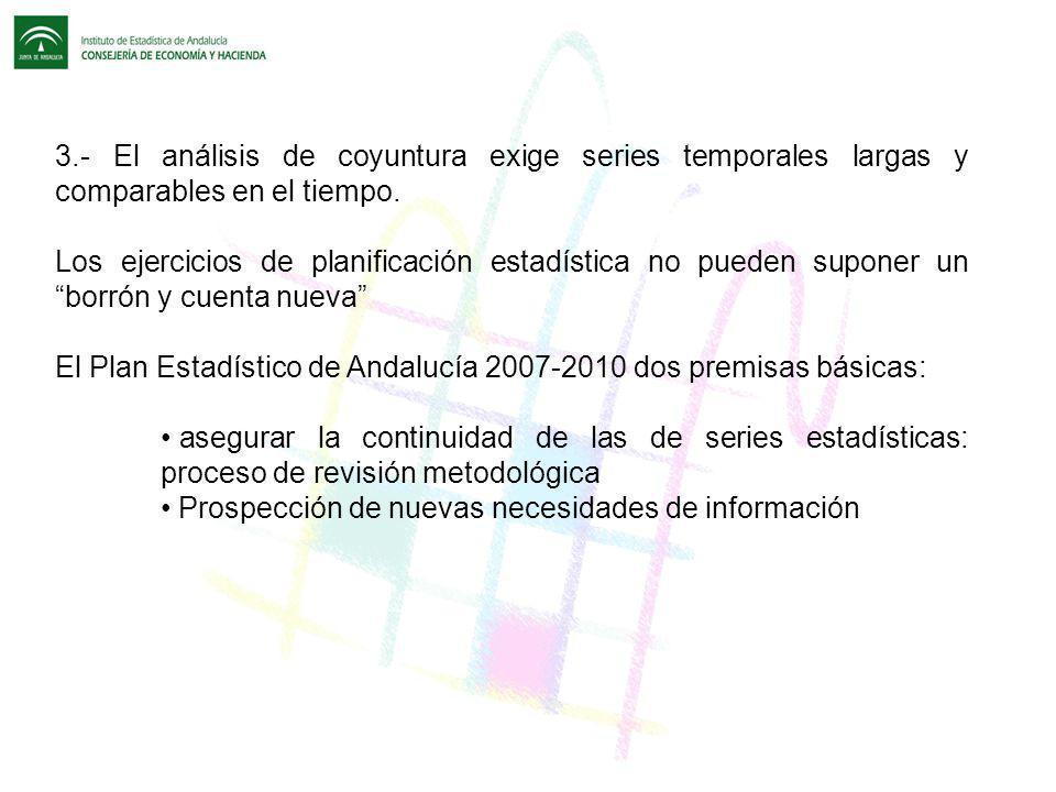 El Plan Estadístico de Andalucía 2007-2010 dos premisas básicas: