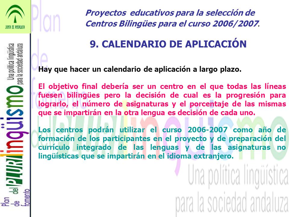 9. CALENDARIO DE APLICACIÓN