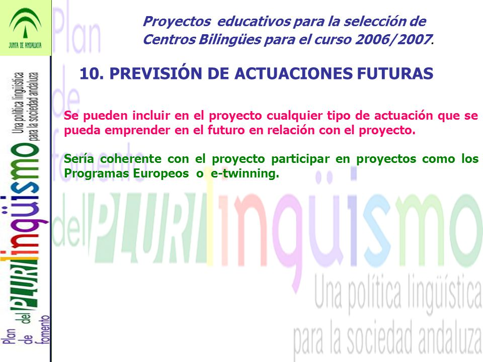 10. PREVISIÓN DE ACTUACIONES FUTURAS